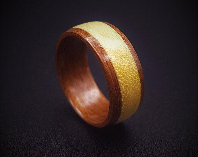Wooden Ring Macassar Ebony Koto Bentwood Ring Women S Etsy
