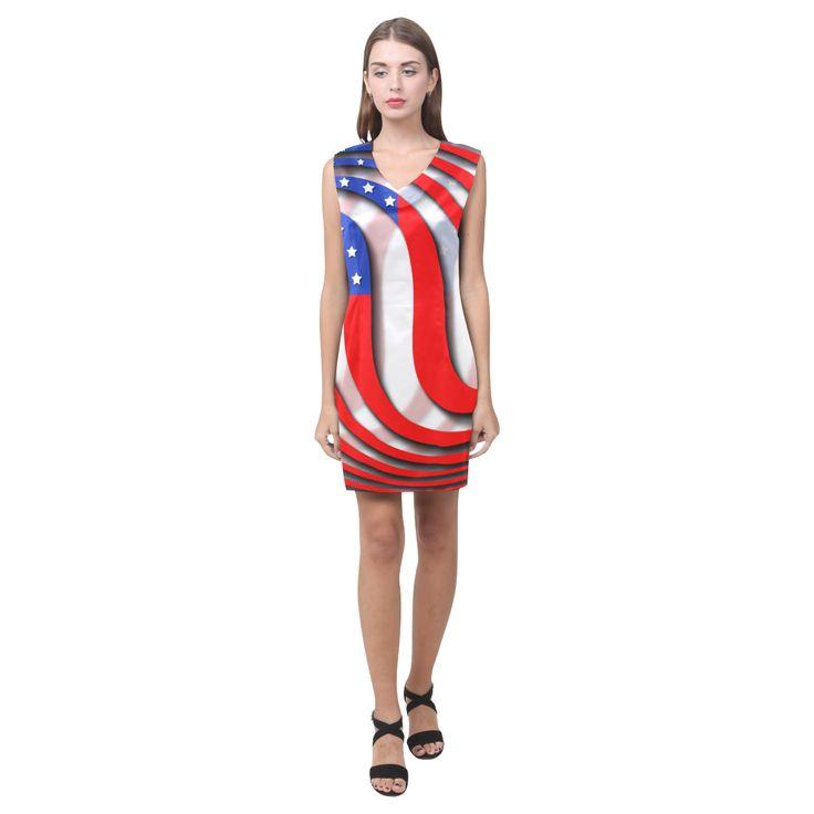 Flag of United States of America Phoebe Sleeveless V-Neck Dress (Model D09)