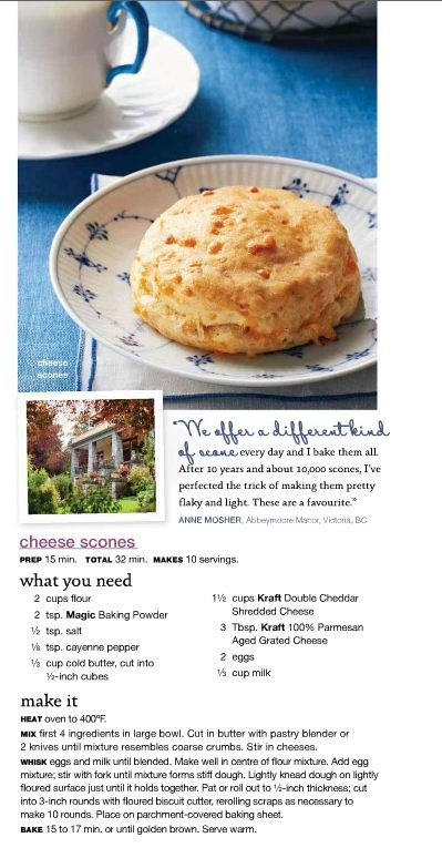 Abbeymoore Manor's secret recipe for scrumptious cheese scones. Check it out in the Fall issue of Kraft's What's Cooking: http://ca.zinio.com/reader.jsp?issue=416231687=ext_id=CUS_COM_EXPLORE_USA_081212_Kraft_whats_cooking_Fall12.