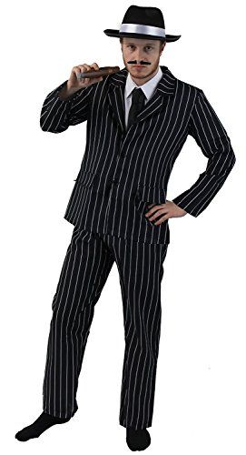 awesome £21.27 ADULT 1920's GANGSTER FANCY DRESS COSTUME FOR MEN - BLACK & WHITE PINSTRIPE SUIT JACKET & TROUSERS + BLACK TIE + BLACK TRILBY ... Check more at http://fisheyepix.co.uk/shop/adult-1920s-gangster-fancy-dress-costume-for-men-black-white-pinstripe-suit-jacket-trousers-black-tie-black-trilby-hat-with-white-satin-band-jumbo-plastic-cigar-stick-on-spiv-moustache-2/