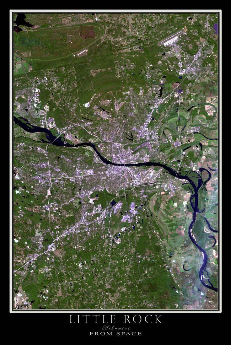 Little Rock Arkansas Satellite Poster Map 12