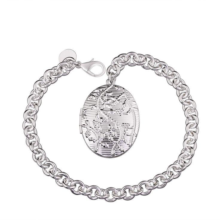 Изображение браслеты унисекс классический овальный Серебряное покрытие серебрение 8inches Роло цепь