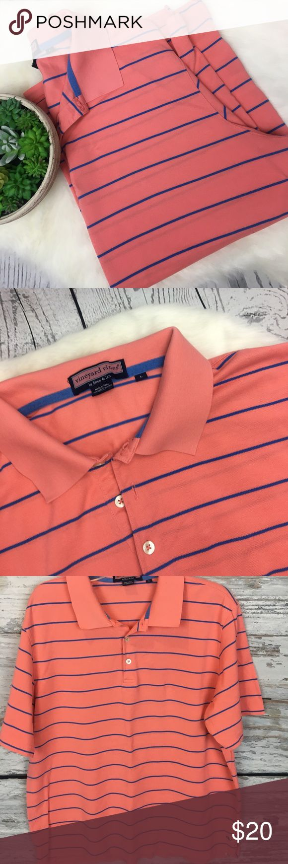 """Vineyard Vines Salmon Striped Polo Shirt Sz Large Perfect summer colors!!! Vineyard Vines Men's Polo Size Large. Salmon coral color with blue pinstripes. Classic whale logo at bottom. Excellent condition from a smoke free home!! Measures approximately 24"""" armpit to armpit. Vineyard Vines Shirts Polos"""