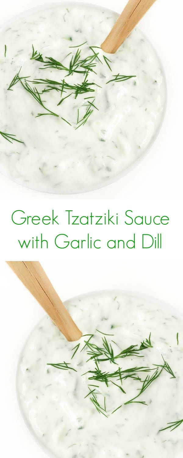 Greek Tzatziki Sauce with Garlic and Dill (use as a pasta sauce with smoked salmon...and maybe capers)