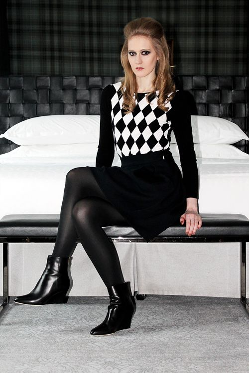 2db1a180f Black and white checkered sweater