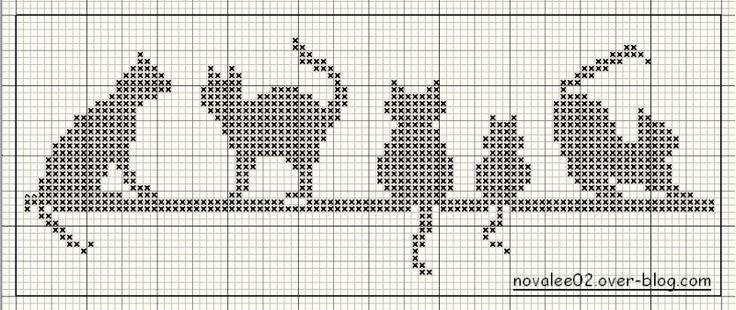 Cross stitich or Bead Loom idea....Schema punto croce Gatti-mono