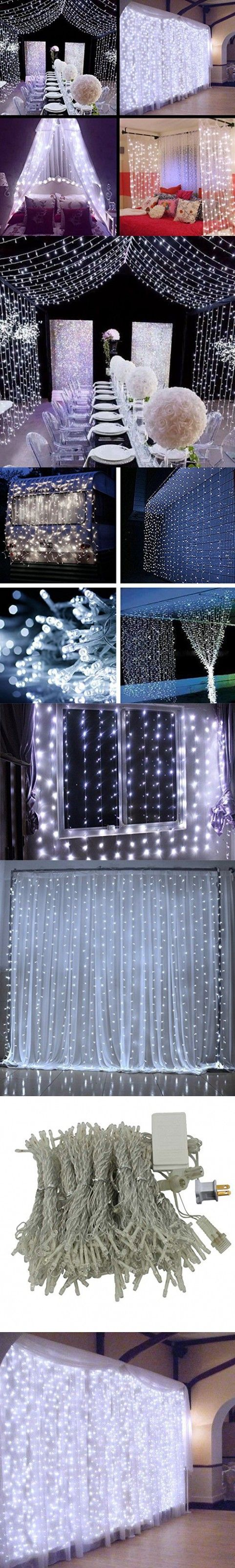 DLPIN 304LED UL Safe Fuse 8 Mode Saving Settings Window Curtain String Lights for Christmas Wedding Party Decoration 9.8FT - White