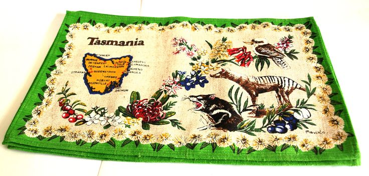 Tasmania Wildflowers Placemats - Vintage Linen Cotton Souvenir Australian Fauna Flora Table Setting Place Mats - Native Flowers by FunkyKoala on Etsy