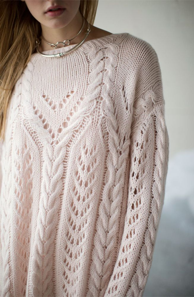 Ryan Roche Pale Apricot Handknit Sweater