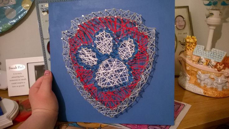 Paw Patrol String Art I made for my son's 2nd Birthday!! He loves it!! <3