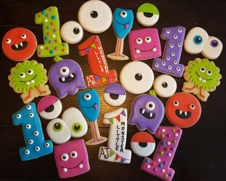 Little Monster Birthday cookies
