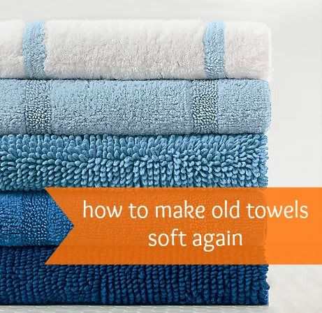 DIY how to make old towels soft again.  White Vinegar.  You will have to do this several times. I also use it in the dishwasher once a month to combat hard water issues.