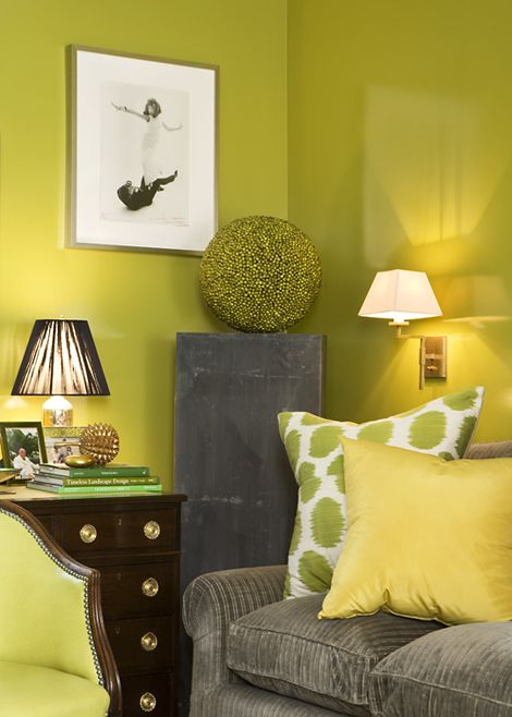 Even though money is tight, designer Amanda Nisbet finds comfort in a green color scheme. These colors are classic yet the combination is modern.  Photo: Tony Williams