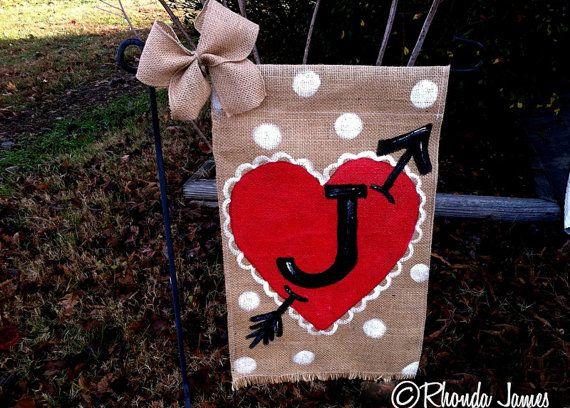 Superior Burlap Garden Flag Initial Monogram Valentineu0027s By Rhondajamesart