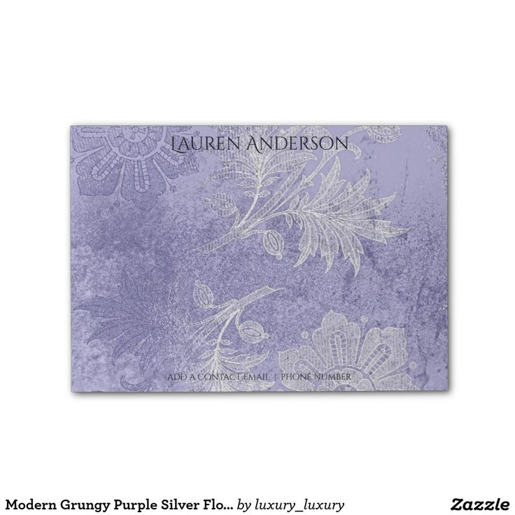 Modern Grungy Purple Silver Floral Personalized Post-it® Notes