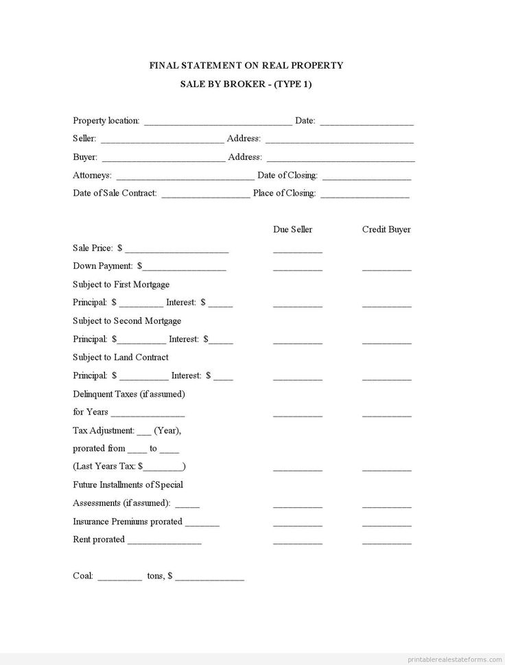 858 best sample legal forms pdf images on pinterest real estate printable sample final statement on real property sale by broker type 1 form yadclub Gallery