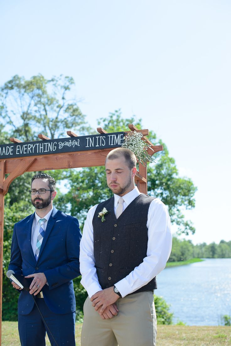 Grooms first reaction to bride walking down aisle | Gilded Isle Photography | gildedisle.com/ #wedding #rustic #DIY #peach #lavender #maryland #christian #bride #groom #detail #ceremony #firstreaction