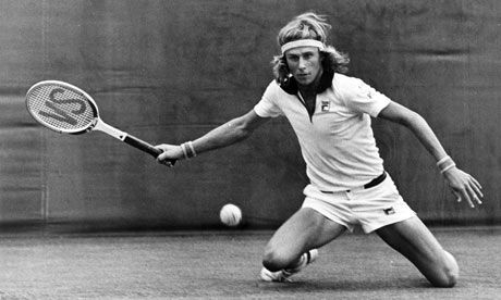 Bjorn Borg. Not usually on his knees. Perhaps the wooden racket was getting a bit heavy?