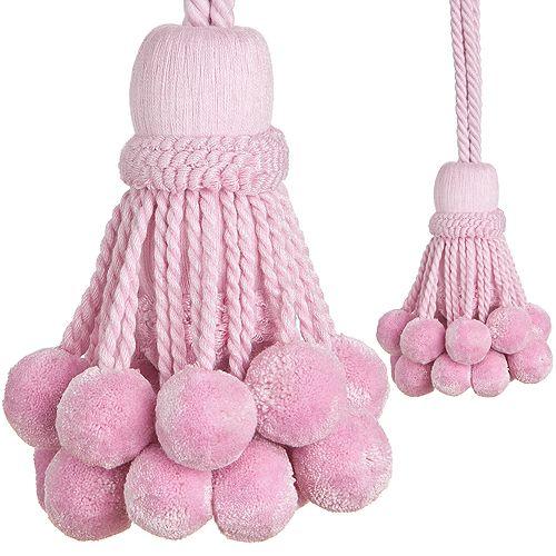 Regency Rope Curtain Tieback, Pom Pom Pink