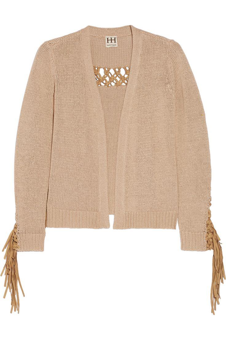 HAUTE HIPPIE Maddie faux suede-trimmed knitted cardigan. #hautehippie #cloth #cardigan