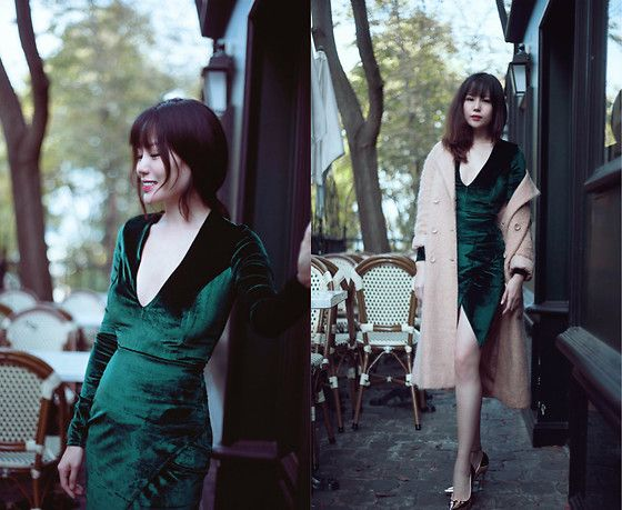 Get this look: http://lb.nu/look/8882619  More looks by FromAmandaWithLove: http://lb.nu/user/5715977-FromAmandaWithLove  Items in this look:  Club L Dark Green Velvet Dress, Asos Golden Shoes With High Heels   #chic #elegant #vintage #dark #velvet #golden #party #paris #evening