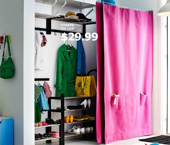 Curtain On Wire To Hide Storage Ikea Organize Me Beige Curtains Closet Curtains Linen