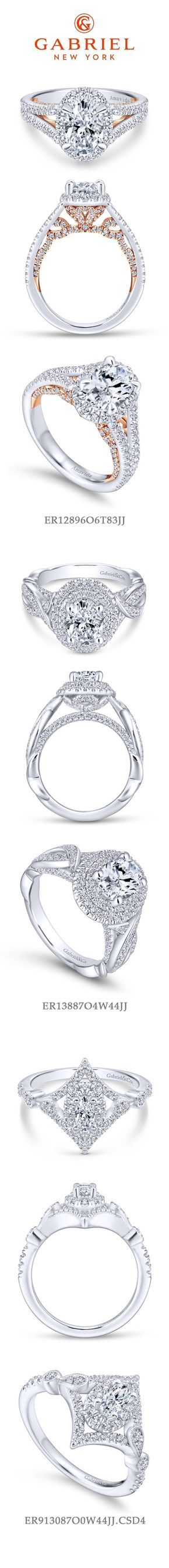 Gabriel NY - Preferred Fine Jewelry and Bridal Brand. Top 3 Oval Engagement Rings. 1) 18k White Gold Rose Gold Oval Halo Engagement Ring 2) 14k White Gold Double Halo Engagement Ring 3) Vintage 14k White Gold Halo Wedding Ring