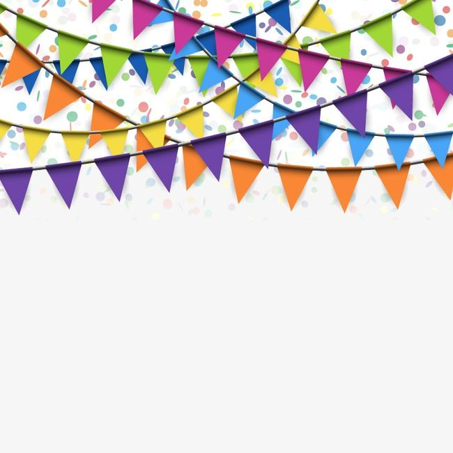 Flags Hanging Festive Atmosphere Confetti Background Happy Birthday Photos Party Background