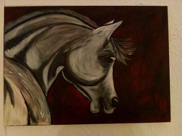 Handpainted by me, black and grey horse
