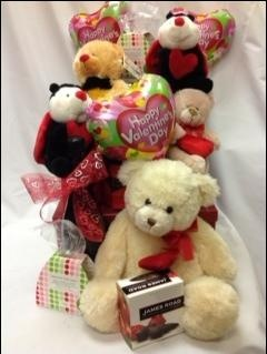 For your 'Sweeheart' on Valentines Day. Champaign or Wine with Lucious Chocolates, Sweets and a 'cudelly' Bear