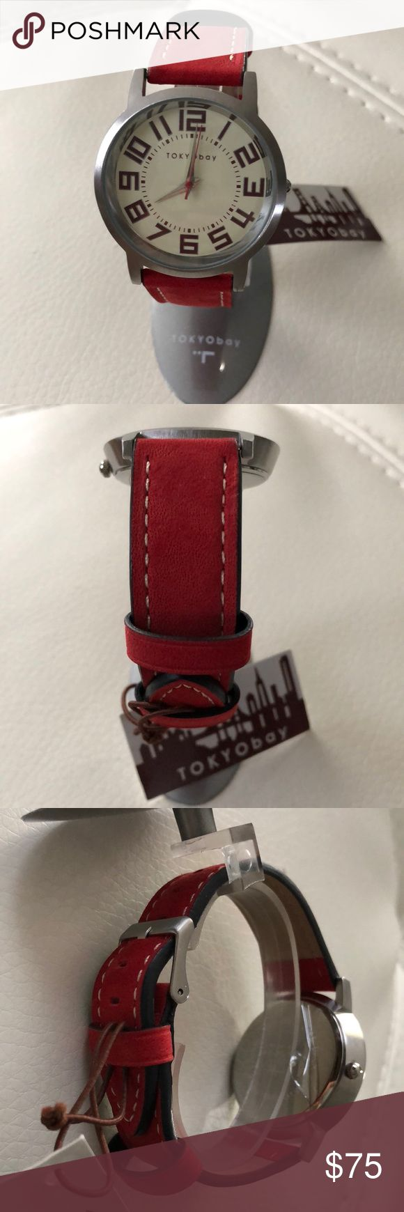 Tokyo bay watch Tokyo bay red leather band TOKYObay Jewelry Bracelets