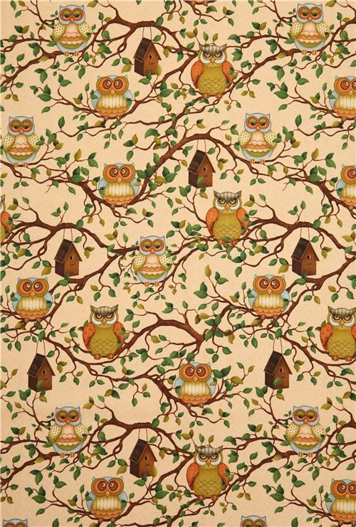 beige owl animal fabric Lifes a Hoot Quilting Treasures