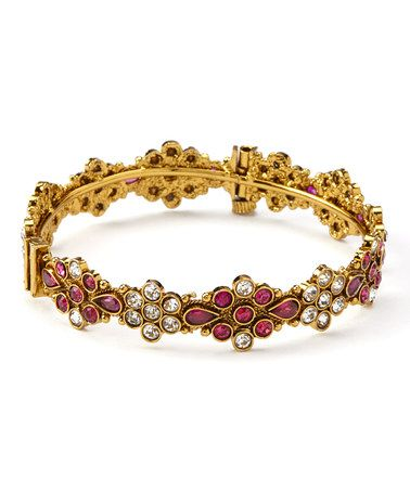 Loving this Sparkle & Pink Floral Mithi Hinged Bangle on #zulily! #zulilyfinds