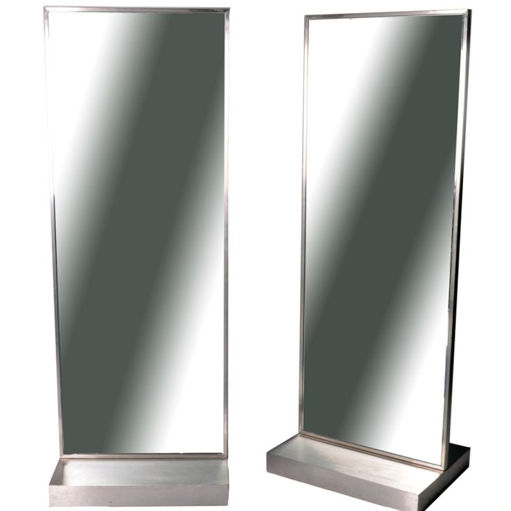 Brushed Nickel Mirrors with Hidden Casters | From a unique collection of antique and modern floor mirrors and full-length mirrors at https://www.1stdibs.com/furniture/mirrors/floor-mirrors-full-length-mirrors/