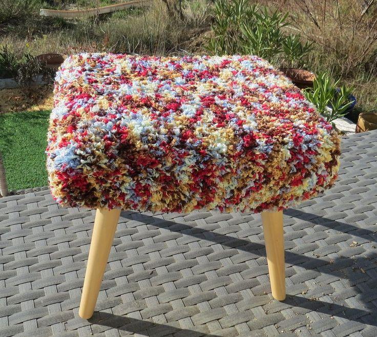 Housse de pouf multicolore en laine acrylique