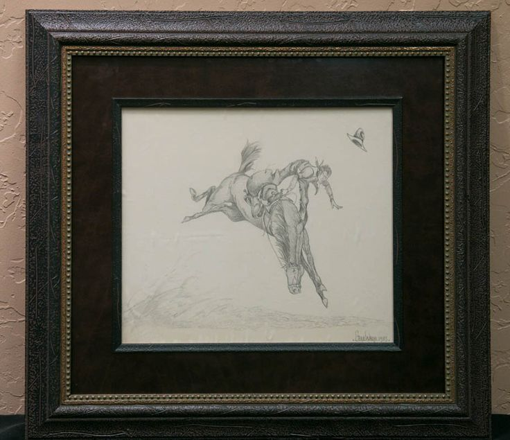 """Gene Ware 1934-1995; """"Cowboy on Bucking Horse"""" pencil sketch. Ware was a contract artist for Walt Disney Co. (1977-95) creating cheerful depictions of Mickey Mouse, Donald Duck, Snow White and more. His work can be found in comics, McDonald's Happy Meals boxes and storybooks. In 1999, his widow sought legal action against Disney for more than $50 million. Outcome of that is unknown."""