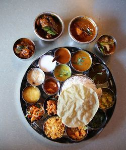 One of many thalis available for lunch at Chennai.