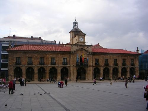 City Hall of Aviles. Built in 1677, was almost completely destroyed during the Spanish Civil War (1936-1939) and reconstructed after.