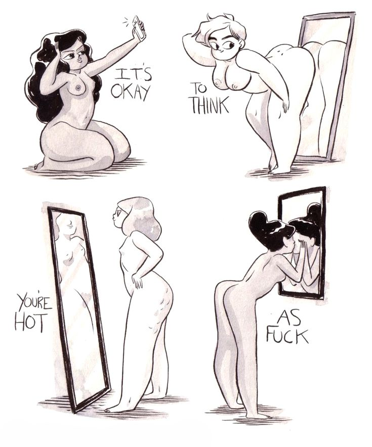 It's okay to think you're hot as fuck. (Illustration by MOOSEKLEENEX)