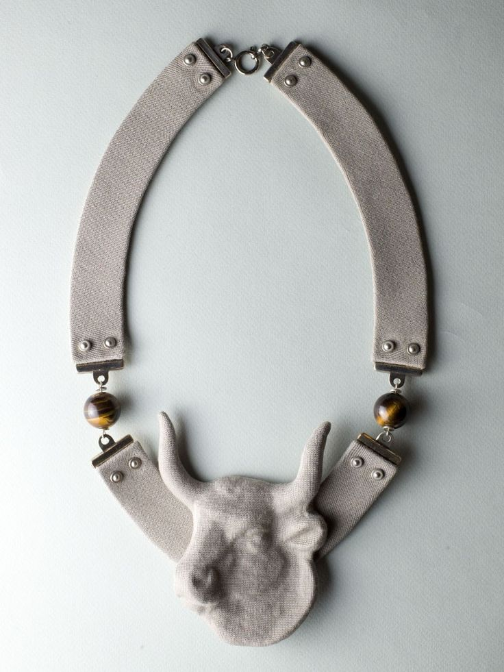 Gray Bull Necklace by Carla Szabo #jewelry #design #necklace