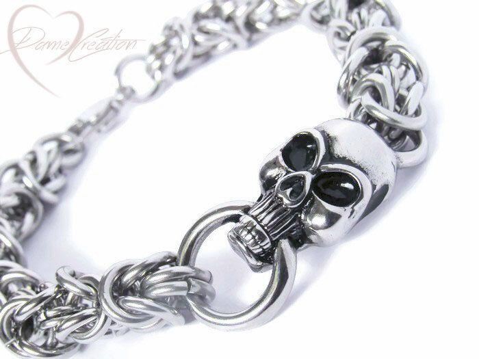Stainless Steel Skull - Skull Bracelet - Skull jewelry for Men - Skull Jewelry - Men Chainmaille - Pirate Bracelet - Gothic Jewelry by DameCreation on Etsy