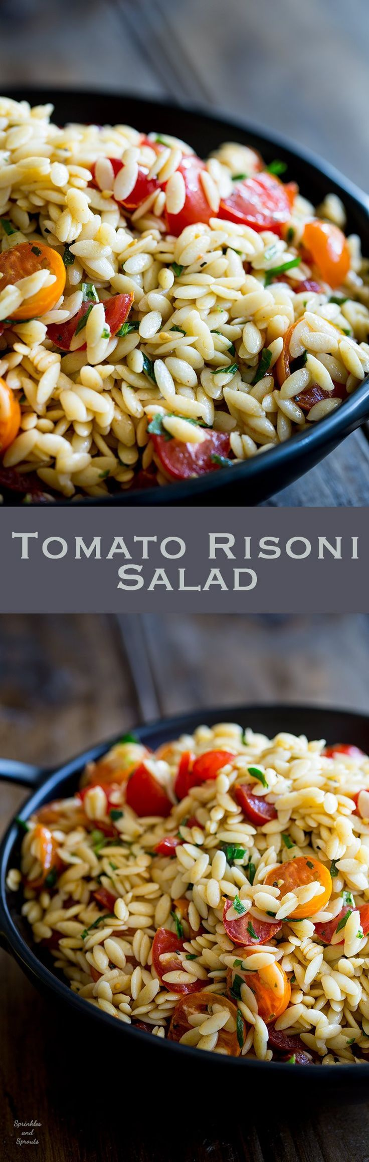 This Tomato Risoni Salad (Tomato Orzo Salad) is a super simple salad that is packed with flavour and works as a side or a main meal. You can add extra veg, meat, cheese what ever you fancy to this salad. It is delicious and perfect for summer or winter!