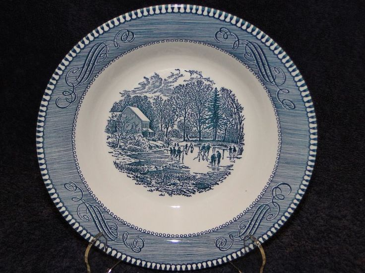 Currier Ives Royal China Blue and White Soup Bowl Early Winter Crazing | Pottery & Glass, Pottery & China, China & Dinnerware | eBay!