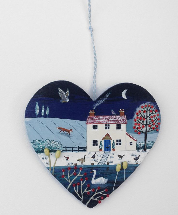 Moonlight River - commissioned small heart (SOLD)