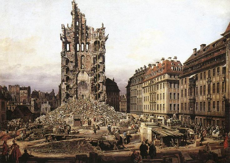 Page: The Ruins of the old Kreuzkirche, Dresden Artist: Bernardo Bellotto Completion Date: 1765 Style: Rococo Period: Warsaw Period Genre: cityscape Technique: oil Material: canvas Gallery: Private Collection