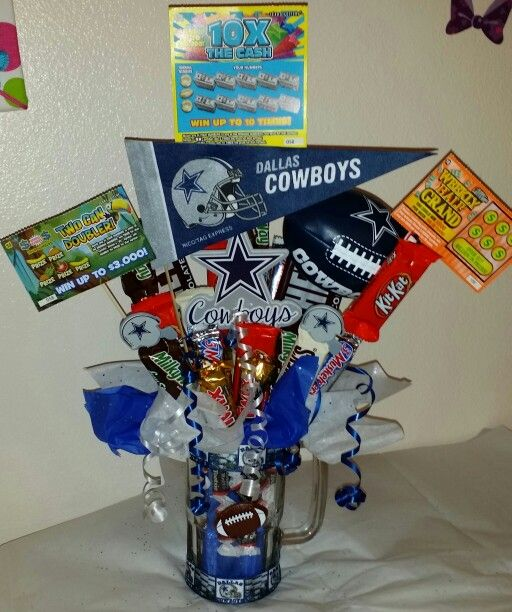 Dallas Cowboys beer mug candy bouquet w/lottery tickets!