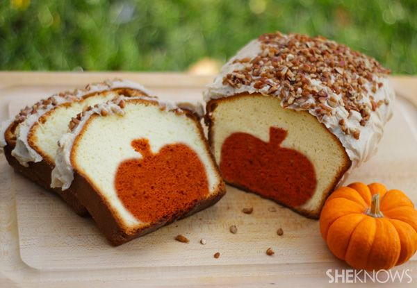 Peekaboo Pumpkin Pound Cake with Brown Butter Pecan Icing - it's pumpkin