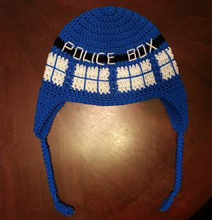 Crochet TARDIS Hat - free crochet adult hat pattern by Acquanetta Ferguson