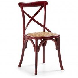 Silea - Hout - Marone - Rottan - Laforma-Kave Stoere retro stoel! Ga terug in de tijd met deze houten stoel en rottan zitting. De stoel is van iepen hout en is afgewerkt met een 'kruis' om de rug nog beter te ondersteunen.