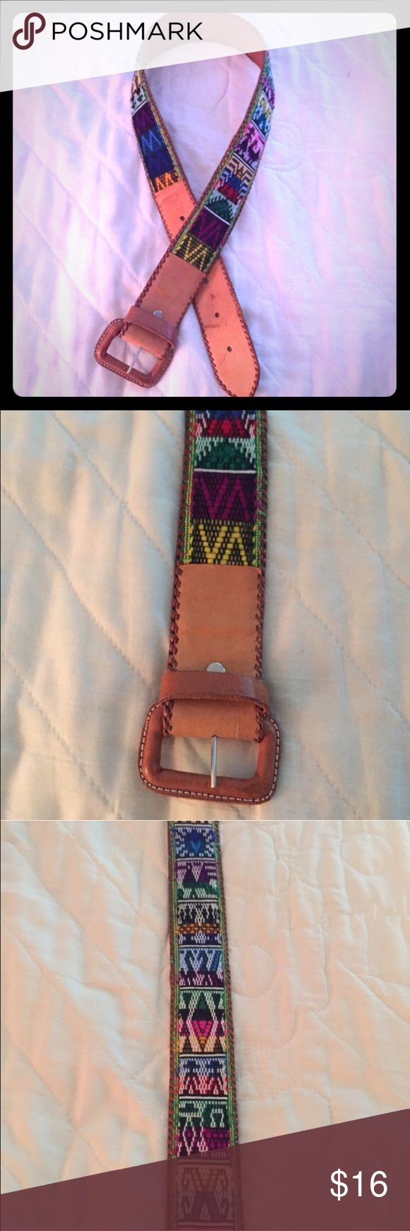 "Multi Colored Aztec Genuine Tan Leather Belt. 30"" Multi Colored Aztec Genuine Tan Leather Belt. 30"" (34"" if you count the buckle). See description above. Accessories Belts"